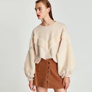 Zara Nude Plush Sweater